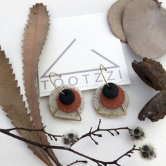 TEXTURE Hoops (Sandstone + Terracotta + Black) Interchangable Statement Dangles