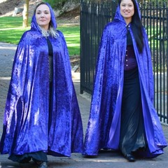 Medium Length Bright Blue Velour Cloak