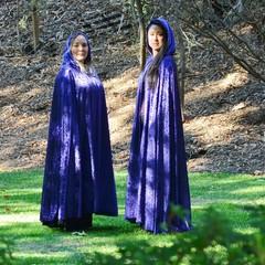 Long Violet Velour Cloak