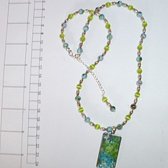 Aqua blue and lime green pendant