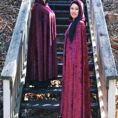 Long Burgundy Velour Cloak