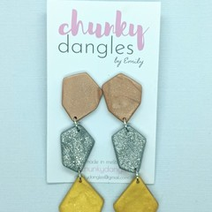 Polymer Clay Minimal Metallic Dangle Earrings