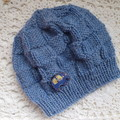 Baby beanie with block pattern & elephant button, fits 3 - 9 months, 8-ply wool
