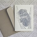 Sleepy Koala card / Blank card / Greeting card / Handprinted Linocut art card