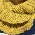 Knitted mustard Infinity scarf cowl merino wool