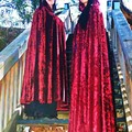 Long Dark Red Velour Cloak