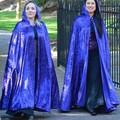Medium Length Bright Blue Velour Cloak