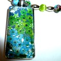 Aqua blue and lime green pendant