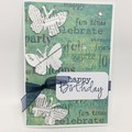 birthday Card -  3 Butterflies on green print
