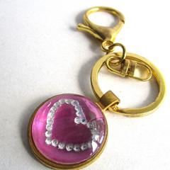 Acrylic Pour Magenta Key Ring 1