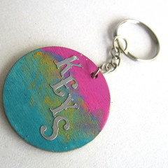 Wood Art Key Ring (set 1) & 1 FREE Mood Ring