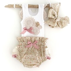 Frilly Paper Bag Nappy Cover, Singlet & Baby Head Wrap Set - Size 0 0-3 Months