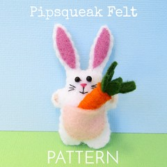 DIGITAL FELT SEWING PATTERN: Rabbit with a Carrot - miniature felt bunny toy