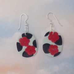 Polymer Clay Oval Earrings Navy & Red