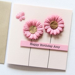 Personalised Birthday card pink flowers