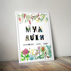Personalised Birth Announcement Print, Australian Animal & Foliage Letter Art