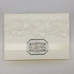 Wedding Card- Cream, Wide Lace, Mr and Mrs