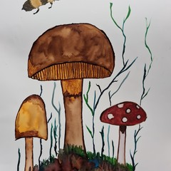 Original watercolour mushroom garden