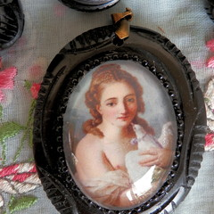 Reproduction, Antique Necklace. Lady with Dove.