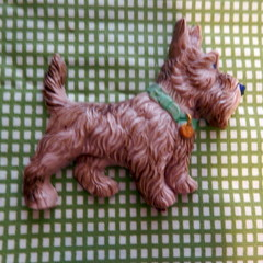Reproduction, Vintage brooch. Scotty Dog with aqua collar.