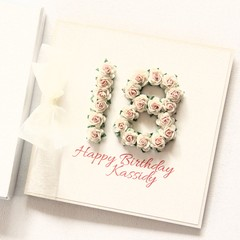 Any Age Personalised card birthday boxed ivory pink 18 21 30 40 50 60 70 80 90