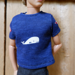 Male Fashion Doll T-shirt with whale print suitable for Ken size dolls