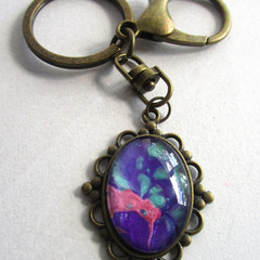 Acrylic Pour Oval Key Ring 2
