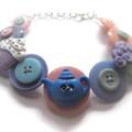 Cupcake bracelet - Tea Party, button bracelet