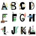 Personalised Birth Announcement Print, Australian Animal & Foliage Letter Art