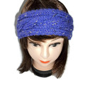 Hand Knitted Purple Cable Ear warmer Headband