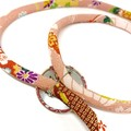 Kimono Cord Necklace Pink Florals
