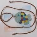 Adjustable Brown Leather Necklace & Colourful Fish Pndant