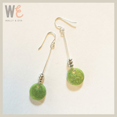 Long Dangle Round Disc Earrings - Natural Aussie Green with Glitter