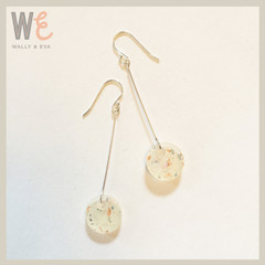 Long Dangle Round Disc Earrings - Opalescent