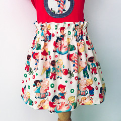 Skirt - Candy Shop - Retro - Cotton - Cream - Red