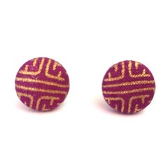 Purple and Gold Fabric Button Earrings, Stud Earrings