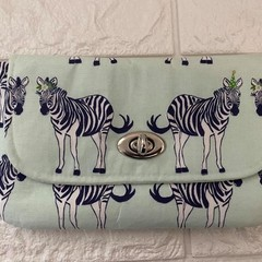 MEDIUM TURNLOCK PURSE - VARIOUS  Zebra, Floral, Coral, blue