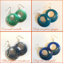 60's Hoop Style Eco Resin Drop Earrings - Emerald Metallic