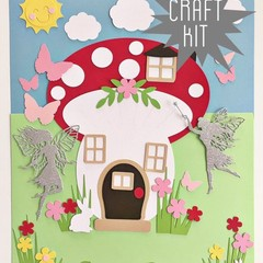 Craft Kit. DIY Mushroom House & fairies. Kids paper craft, home school activity.
