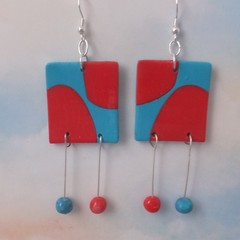 Pretty Cherry Red & Blue Earrings