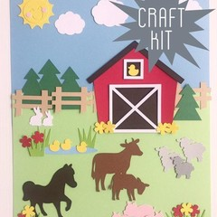 Craft Kit. DIY Farmyard animal picture. Kids paper craft, home school activity.