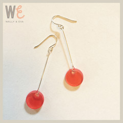 Long Dangle Round Disc Earrings - Red Translucent