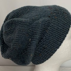 Unisex adult hand knit Slouchy-beanie Australian Tweed Wool 2/2