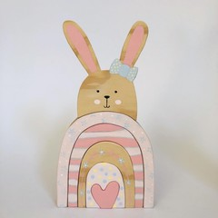 Handmade Wooden Daisy Rabbit Stacker.