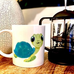 11oz ceramic coffee mug - turtle love, original artwork - limited - unique - cut