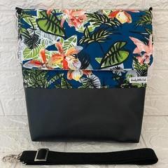 LARGE MESSENGER BAG - FLORAL Roses, Orchid