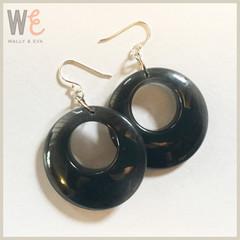 60's Hoop Style Eco Resin Drop Earrings - Black Translucent