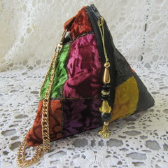 Velvet Wristlet - Pyramid Bag with Luxurious Printed Velvet