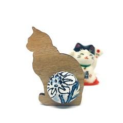 Kimono Cat Brooch - Blue Flowers