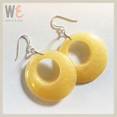 60's Hoop Style Eco Resin Drop Earrings - Mellow Yellow Metallic